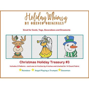 Christmas Holiday Treasury #3 Reindeer, Angel and Snowman THREE Counted Cross Stitch Patterns