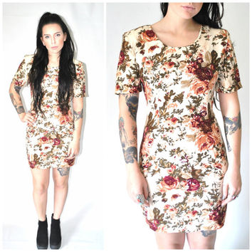 early 90s FLORAL mini dress vintage 1990s GRUNGE rose print body con dress small medium