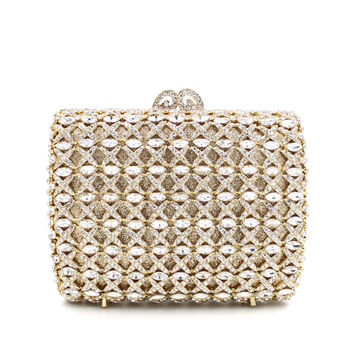 Gold Embellished Rhinestone Crystal Minaudiere Bridal Clutch Bag