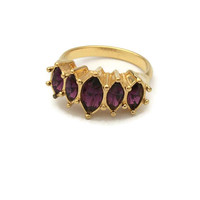 "1990s Avon ""Marquis Sparkle"" Faux Amethyst Ring - Gold Tone with Purple Crystals Rhinestones - Size 6 1/2 Band - February Birthstone Jewelry"