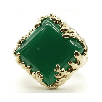 Coral Wrapped Offset Square Simulated Green Agate Stone Adjustable Fashion Ring in Gold Tone