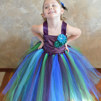 Corset Peacock flower girl tutu dress