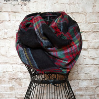 Perfect Plaid Infinity Scarf - Black