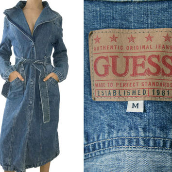 Vintage Denim Coat~Size Small/Medium~80s 90s Long Jean Trench Maxi Tie Blue Collar Jacket~By Guess