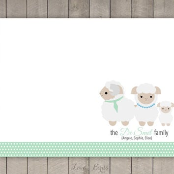 Personalized Sheep Family Note Card