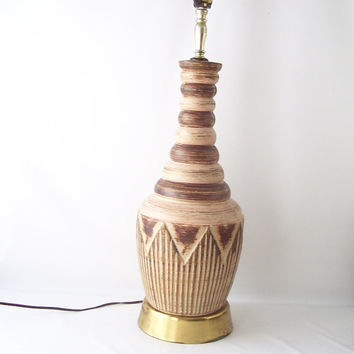 vintage ceramic pottery table lamp bohemian boho mid century retro atomic tiki brown cream decorative home decor ceramic stripes neutral