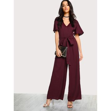 Ruffle Sleeve Self Tie Palazzo Jumpsuit Online Exclusive