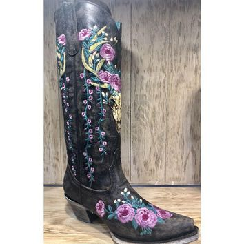 Corral Dark Brown Deer Skull and Floral Embroidery Boot