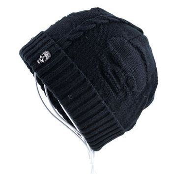 Skull pattern hats for men beanies Knitted wool velvet bone Solid Color Hip-hop winter women's