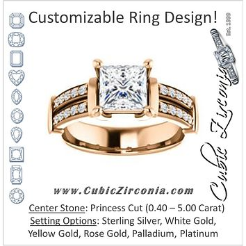 Cubic Zirconia Engagement Ring- The Rachana (Customizable Princess Cut Design with Wide Split-Pavé Band and Euro Shank)