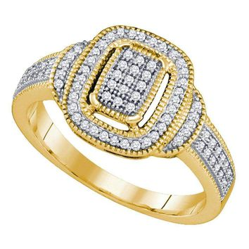 10kt Yellow Gold Women's Round Diamond Rectangle Frame Cluster Ring 1-4 Cttw - FREE Shipping (USA/CAN)
