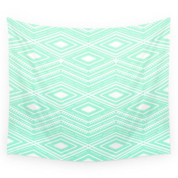 Society6 Hipster Mint Green Arrows Aztec Tribal Pattern Wall Tapestry