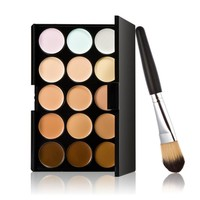 Concealer 15 Colors Contour Palette And Powder Brush 2 Pcs Set Professional Face Concealer Primer Makeup Cream Base Make Up M182