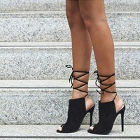 Lace Up Shoes Peep ToeAnkle High Heels