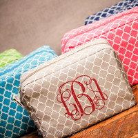 Custom Glitter Monogrammed  Cosmetic Makeup Bag - Monogram Bag, Bridesmaid Gift
