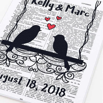 Birds in love wall art-birds in love canvas board-custom wall art-Anniversary wall art-wedding wall art-holiday gift-by NATURA PICTA-CB031