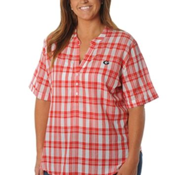 UGA Women's Short Sleeve Plaid Top | Georgia Bulldogs Short Sleeve Plaid Top | UGA Short Sleeve Plaid Shirt