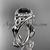 14kt white gold diamond celtic trinity knot wedding ring, engagement ring with a Black Diamond center stone CT7327