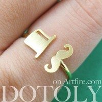 Adjustable Simple Mustache Moustache and Top Hat Ring in Gold from Dotoly Love