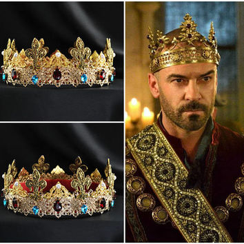 Gold Baroque Male Dolce Beaded Red Blue Leaves Bridal Crown Groom Crown Mens crown, barowue mens crown, Dolce Crown Tudor, medieval