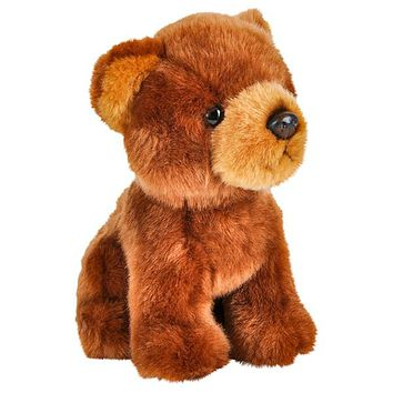 7 Inch Stuffed Grizzly Bear Plush Sitting Animal Kingdom Collection