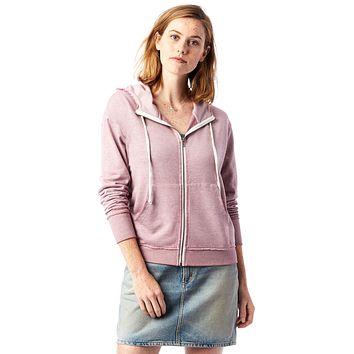 Alternative Apparel - The Fiona Burnout French Terry Full Zip Whiskey Rose Hoodie