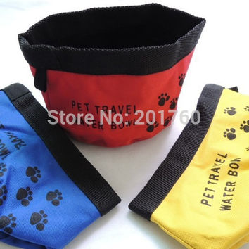 Oxford cloth Pet Dog Cat Collapsible Foldable Travel Camping Food Water Feeder Bowl Dish 10pcs/lot Free Shipping color random