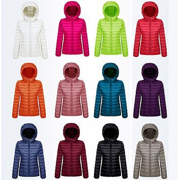 ultra light womens jacket semi fitted hooded winter coat bubble style