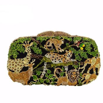Jungle Kingdom Beautifully Unique Crystal Evening Clutch Purse with Shoulder Strap