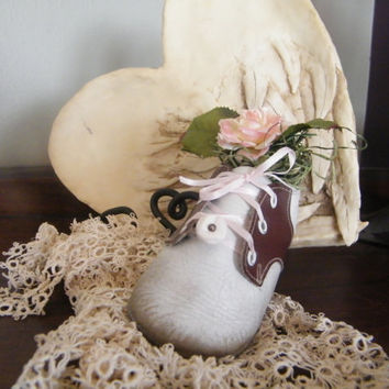 Vintage upcycled Soft Sole Baby Saddle Shoe Shabby Chic.  Altered with Vintage Button and Rose.
