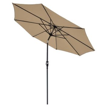 Patio Umbrella Tan 9' Aluminum Patio Market Umbrella Tilt W/ Crank Outdoor New