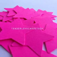 25 Neon Pink Star Punch Die Cuts 1 3/8 inch - Embellishment, cards, scrapbook, table decoration, confetti