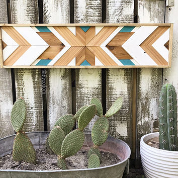 Wood Art- Turquoise, White and Natural cedar aztec art, boho, puzzle art