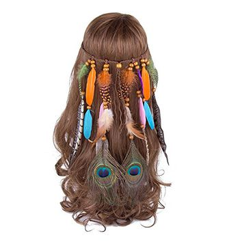 AWAYTR Feather Headband Women Festival Peacock Feather Bridal Wedding Headband Headdress Hair Accessories (Two peacock)