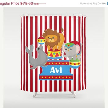 At The Circus -  Personalized Shower Curtain