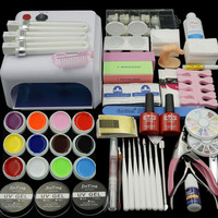 Nail Gel Polish Tools Pro 36W UV GEL White Lamp with 12 Color Nail Art Kits manicure set Fashion