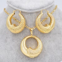 Sunny Jewelry Big Hoop Earrings Pendant Necklace Women's Jewelry Sets18K Gold Plated Copper Round Moon For Fashion Party Wedding