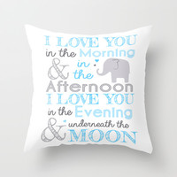 Elephant nursery print - blue Throw Pillow by Janelle Krupa