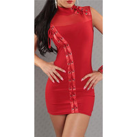 Red Turtleneck Leather Lace-up Bodycon Mini Dress