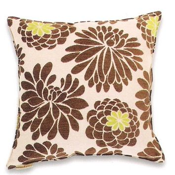 "Edwin natural chenille large flower pattern print 20"" x 20"" throw pillow"