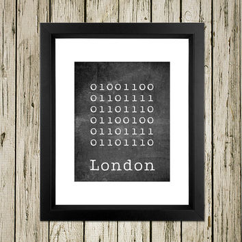 London City Binary Code Sign Printable Instant Download Print Poster City Name Art Typography Home Decor  Wall Decor BC003