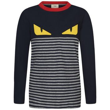Fendi Boys 'Monster' Striped Long-Sleeved T-shirt