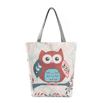 Women handbags Owl Printed Canvas Tote Casual Beach Bags WomenS Shopping Bag Handbags sac a main femme de marque women bag
