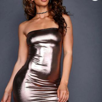 Haute Metallic Tube Dress