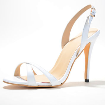 White Chaussure Ete Femme Woman Stiletto Heels Dress Sandals PU Cross-Strap Elegant Open Toe Slingbacks 2015 Shoes Large Size