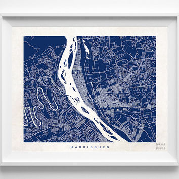 Pennsylvania, Harrisburg, Print, Map, PA, Poster, State, City, Street Map, Dorm, Art, Decor, Town, Illustration, Room, Wall Art, Customize