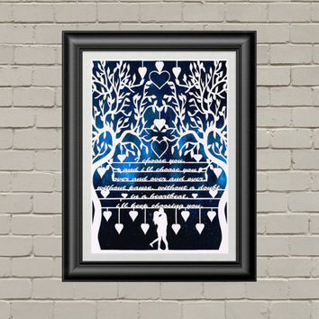 Valentines Day Papercut, Valentines Gift, I Choose You, Love Gifts For Him, Engagement Gift, Paper Anniversary, Couple Present