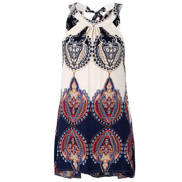 Lady Colorful Floral Geometric Print O-Neck Sleeveless Shift Dress Women Baroque Retro Boho Hippie Femme
