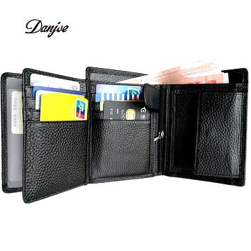 Men Wallets RFID Blocking Trifold Genuine Leather Coin Purse Cowhide Business Luxury Male Card Holder Bag