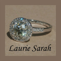 Diamond Engagement Ring with Diamond Halo in by LaurieSarahDesigns